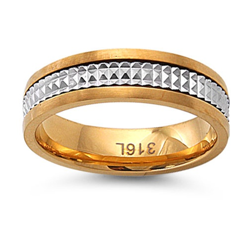 jewelry volt Polished Gold Plated Stainless Steel Band Ring w/ Diamond Cut Design - Size 06 at Sears.com